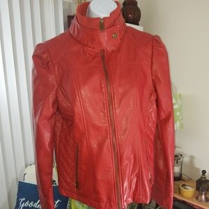 Madden Girl RED Leather Look  Jacket sz L